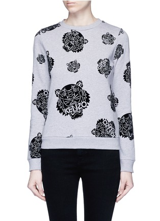 Main View - Click To Enlarge - KENZO - 'Multi Tiger' flocked velvet sweatshirt