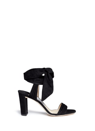 Main View - Click To Enlarge - JIMMY CHOO - 'Kora' ankle tie pleat suede pumps