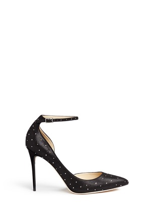 Main View - Click To Enlarge - Jimmy Choo - 'Lucy' ankle strap strass suede d'Orsay pumps