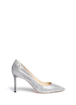 Main View - Click To Enlarge - Jimmy Choo - 'Romy' stingray embossed heel glitter pumps