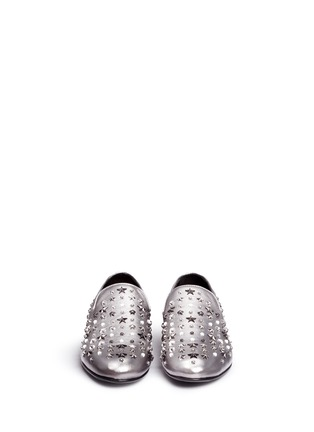 Front View - Click To Enlarge - Jimmy Choo - 'Sloane' star stud metallic leather slip-ons