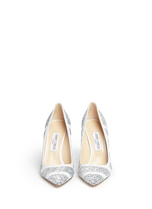 Front View - Click To Enlarge - Jimmy Choo - 'Romy' coarse glitter stripe leather pumps
