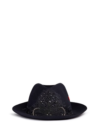 Main View - Click To Enlarge - My Bob - 'Tribeca' floral embellished rabbit furfelt hat