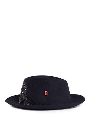 Figure View - Click To Enlarge - My Bob - 'Tribeca' floral embellished rabbit furfelt hat