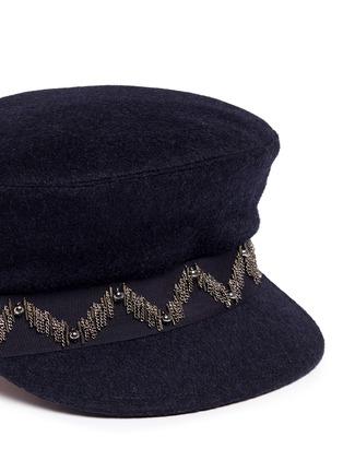 Detail View - Click To Enlarge - My Bob - 'Steward' beaded stripe band felt schoolboy cap