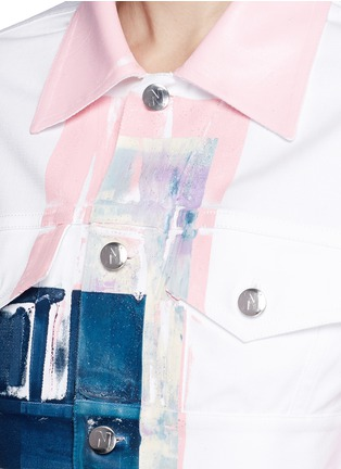 Detail View - Click To Enlarge - NICOPANDA - Paint patchwork cropped denim jacket