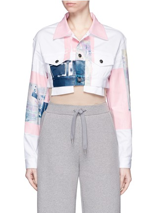 Main View - Click To Enlarge - NICOPANDA - Paint patchwork cropped denim jacket