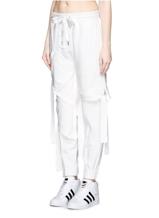 Front View - Click To Enlarge - NICOPANDA - Satin ribbon tie deconstructed sweatpants
