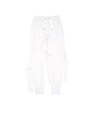 Main View - Click To Enlarge - NICOPANDA - Satin ribbon tie deconstructed sweatpants
