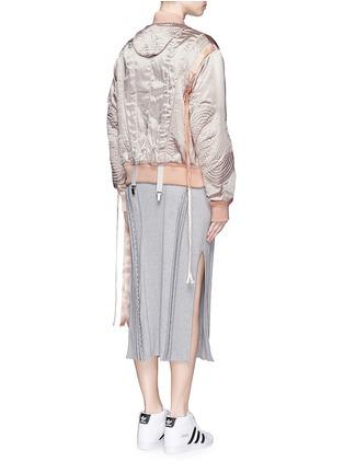 Back View - Click To Enlarge - NICOPANDA - Satin ribbon trim lingerie bomber jacket