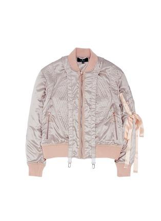Main View - Click To Enlarge - NICOPANDA - Satin ribbon trim lingerie bomber jacket