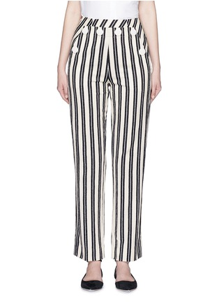 Main View - Click To Enlarge - MO&CO. EDITION 10 - Stripe textured cotton sailor pants