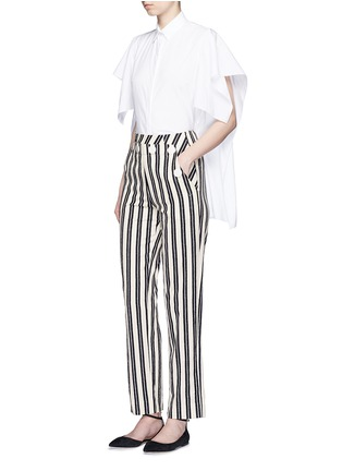 Figure View - Click To Enlarge - MO&CO. EDITION 10 - Stripe textured cotton sailor pants