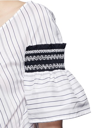 Detail View - Click To Enlarge - Peter Pilotto - 'Sky' variegated stripe drawstring cotton-silk blouse