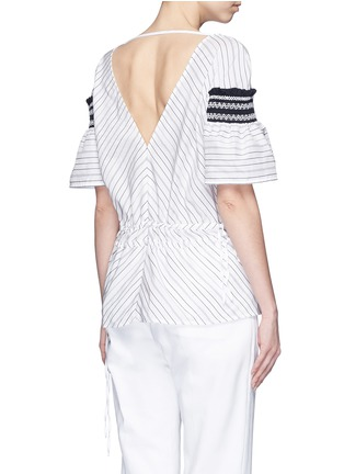 Back View - Click To Enlarge - Peter Pilotto - 'Sky' variegated stripe drawstring cotton-silk blouse