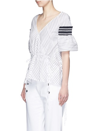 Front View - Click To Enlarge - Peter Pilotto - 'Sky' variegated stripe drawstring cotton-silk blouse