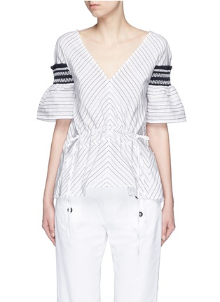 Main View - Click To Enlarge - Peter Pilotto - 'Sky' variegated stripe drawstring cotton-silk blouse