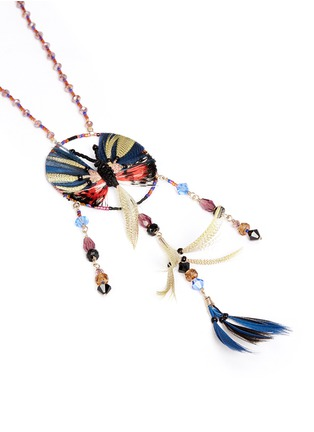 Detail View - Click To Enlarge - Valentino - Butterfly feather bead necklace