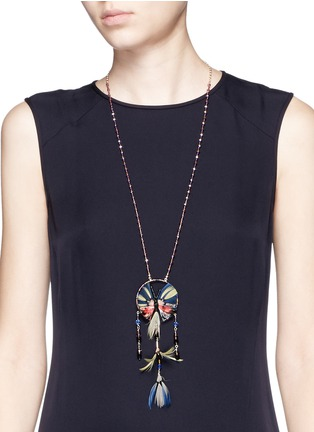 Figure View - Click To Enlarge - Valentino - Butterfly feather bead necklace