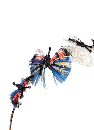 Detail View - Click To Enlarge - Valentino - Hand-beaded feather butterflies ethnic headband