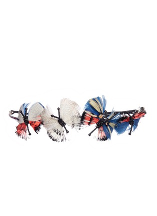 Main View - Click To Enlarge - Valentino - Hand-beaded feather butterflies ethnic headband