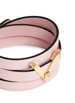Detail View - Click To Enlarge - Valentino - 'V Rockstud' triple wrap leather bracelet