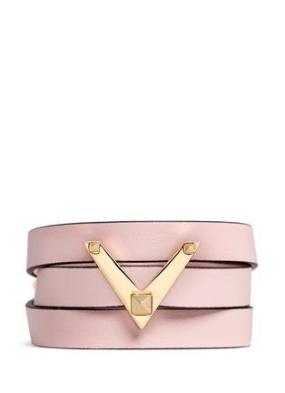 Main View - Click To Enlarge - Valentino - 'V Rockstud' triple wrap leather bracelet