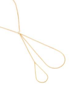 Ego Sur Mesure 'Main' diamond 18k yellow gold double ring chain bracelet