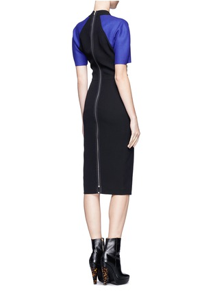 Back View - Click To Enlarge - VICTORIA BECKHAM - Contrast sleeve V-neck dress