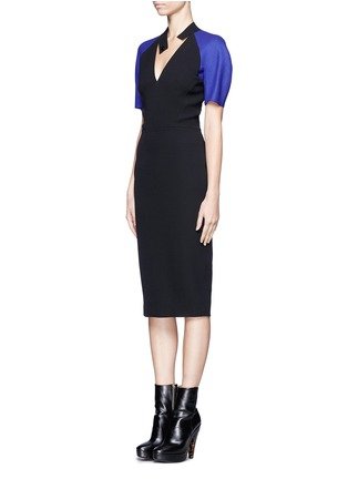 Front View - Click To Enlarge - VICTORIA BECKHAM - Contrast sleeve V-neck dress