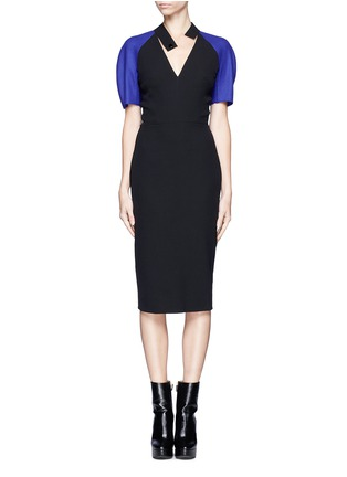 Main View - Click To Enlarge - VICTORIA BECKHAM - Contrast sleeve V-neck dress