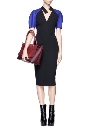 Figure View - Click To Enlarge - VICTORIA BECKHAM - Contrast sleeve V-neck dress