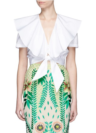 Main View - Click To Enlarge - Temperley London - Ruffle tie front cotton poplin cropped top