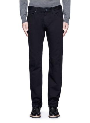 Detail View - Click To Enlarge - ARMANI COLLEZIONI - Slim fit solid cotton denim jeans