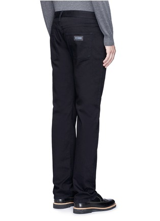 Back View - Click To Enlarge - ARMANI COLLEZIONI - Slim fit solid cotton denim jeans