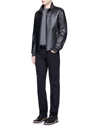 Figure View - Click To Enlarge - ARMANI COLLEZIONI - Slim fit solid cotton denim jeans