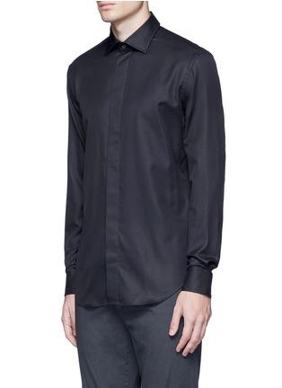 Front View - Click To Enlarge - Armani Collezioni - Slim fit cotton-silk tuxedo shirt