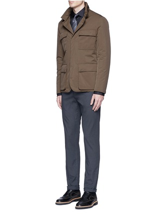 Figure View - Click To Enlarge - Armani Collezioni - Slim fit cotton-silk tuxedo shirt