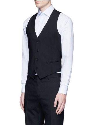 Front View - Click To Enlarge - Armani Collezioni - Wool hopsack waistcoat