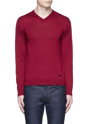 Main View - Click To Enlarge - Armani Collezioni - V-neck wool sweater