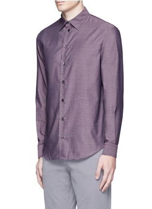 Front View - Click To Enlarge - Armani Collezioni - Slim fit cotton shirt