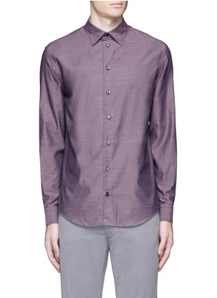 Main View - Click To Enlarge - Armani Collezioni - Slim fit cotton shirt