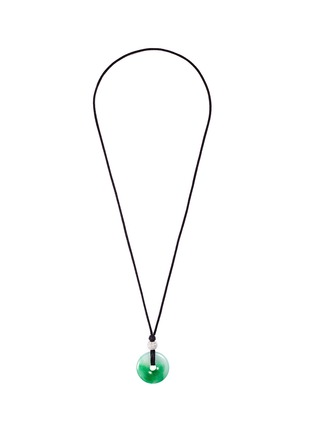 Main View - Click To Enlarge - LC COLLECTION JADE - Diamond jade 18k gold pendant cord necklace