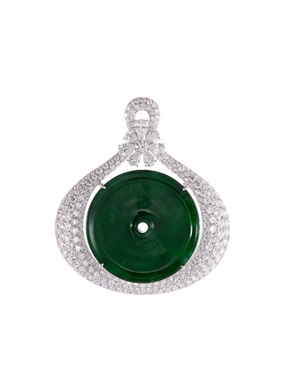 Main View - Click To Enlarge - LC COLLECTION JADE - Diamond jade 18k gold disc pendant