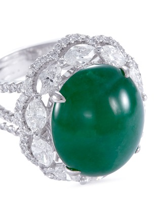 Detail View - Click To Enlarge - LC COLLECTION JADE - Diamond jade 18k gold scallop ring