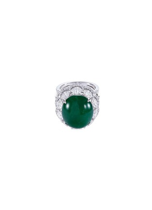 Main View - Click To Enlarge - LC COLLECTION JADE - Diamond jade 18k gold scallop ring