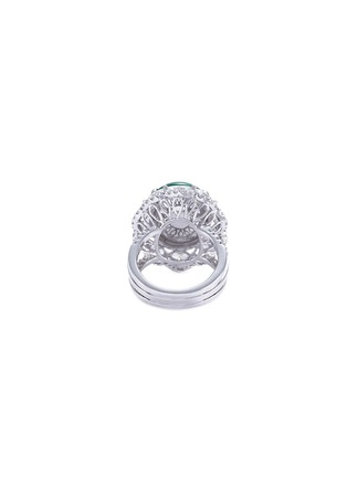 Figure View - Click To Enlarge - LC COLLECTION JADE - Diamond jade 18k gold scallop ring