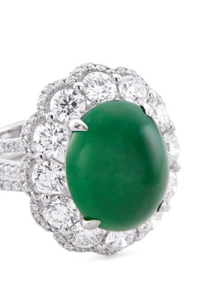 Detail View - Click To Enlarge - LC COLLECTION JADE - Diamond jade 18k gold scallop ring and earrings set