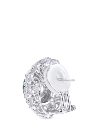- LC COLLECTION JADE - Diamond jade 18k gold scallop ring and earrings set