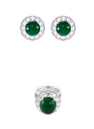 Main View - Click To Enlarge - LC COLLECTION JADE - Diamond jade 18k gold scallop ring and earrings set